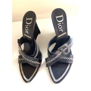 "Christian Dior Black Suede and Leather 4"" Wedges"